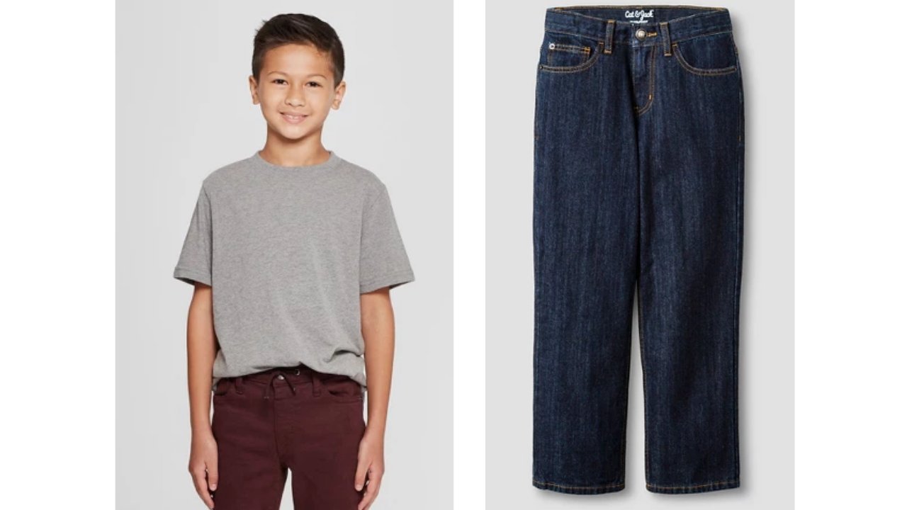 fcb0080b6 (5) Cat & Jack Boy's Short Sleeve Shirts, $4 (3) Cat & Jack Boy's Relaxed  Jeans, $8. Use: $10 off $40 Purchase