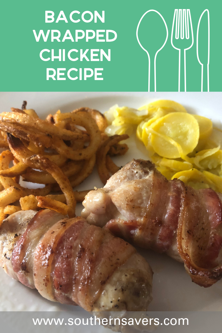 Who doesn't love bacon? This bacon wrapped chicken is one of our family's favorites, with only two ingredients other than seasonings!