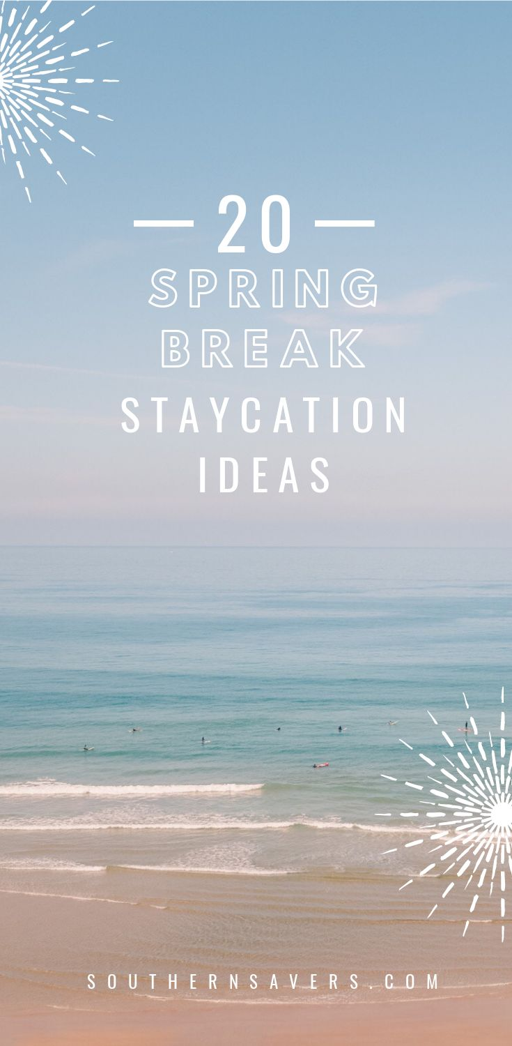 With spring break fast approaching, don't break the budget on a big trip.  Stay local and have a blast with these 20 Spring Break Staycation Ideas.  The kids will have a blast and never get bored!