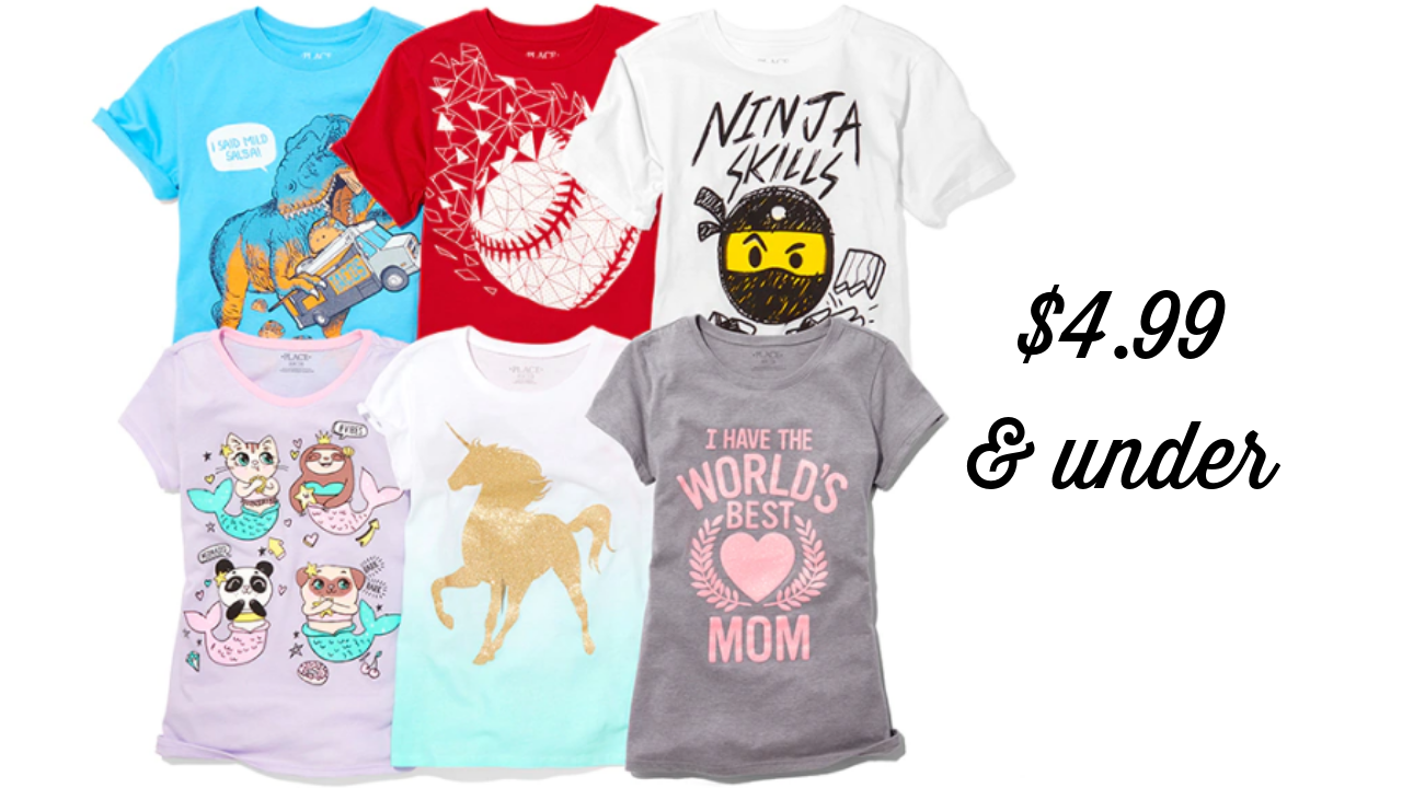 1d2d3210 Girl's graphic tees are between $4.75 and $4.99 right now at The Children's  Place! This sale may not last long, so if you want to stock up shirts for  spring ...