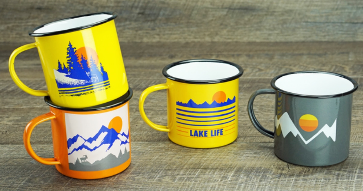 enameled mugs