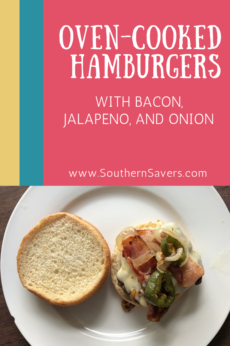 Don't have a grill? You can make these delicious oven hamburgers inside and prepare a spicy, savory topping of bacon, jalapeno and onion at the same time.
