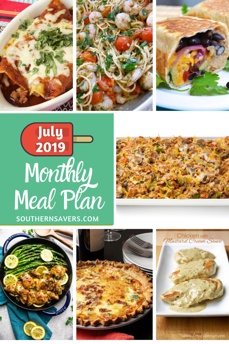 It's a new month, which means a new monthly meal plan from Southern Savers! Enjoy this July monthly meal plan with summery, simple recipes.