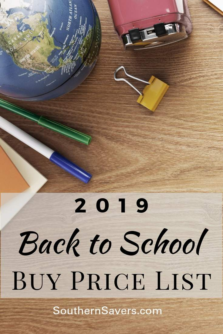 It's that time of year again! Check out our school supplies buy price list so you know what you should be aiming for when you go back-to-school shopping!
