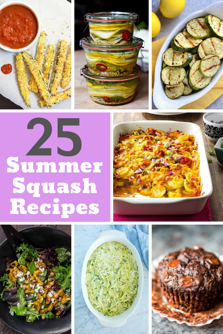 Is your garden producing summer squash up to your ears? I've got 25 summer squash recipes to inspire you and keep you from getting sick of squash!