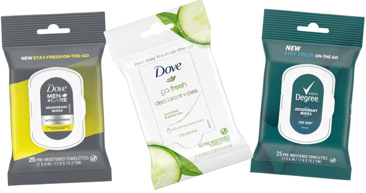 Degree Or Dove Deodorant Wipes For 1 22 Southern Savers