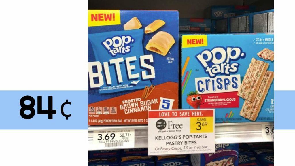 image relating to Pop Tarts Coupons Printable titled Kelloggs Pop-Tarts Bites or Crisps: Basically 84¢ at Publix