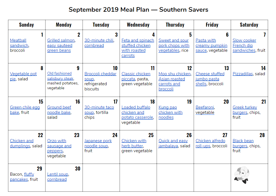 image regarding Monthly Meal Planner Printable referred to as Regular monthly Dinner Application: September 2019 :: Southern Savers