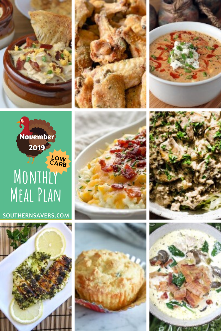 The holidays are coming, but get ready for the glut of holiday foods with this low carb monthly meal plan to take you all the way through November!