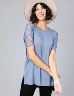 sue lace sleeve top