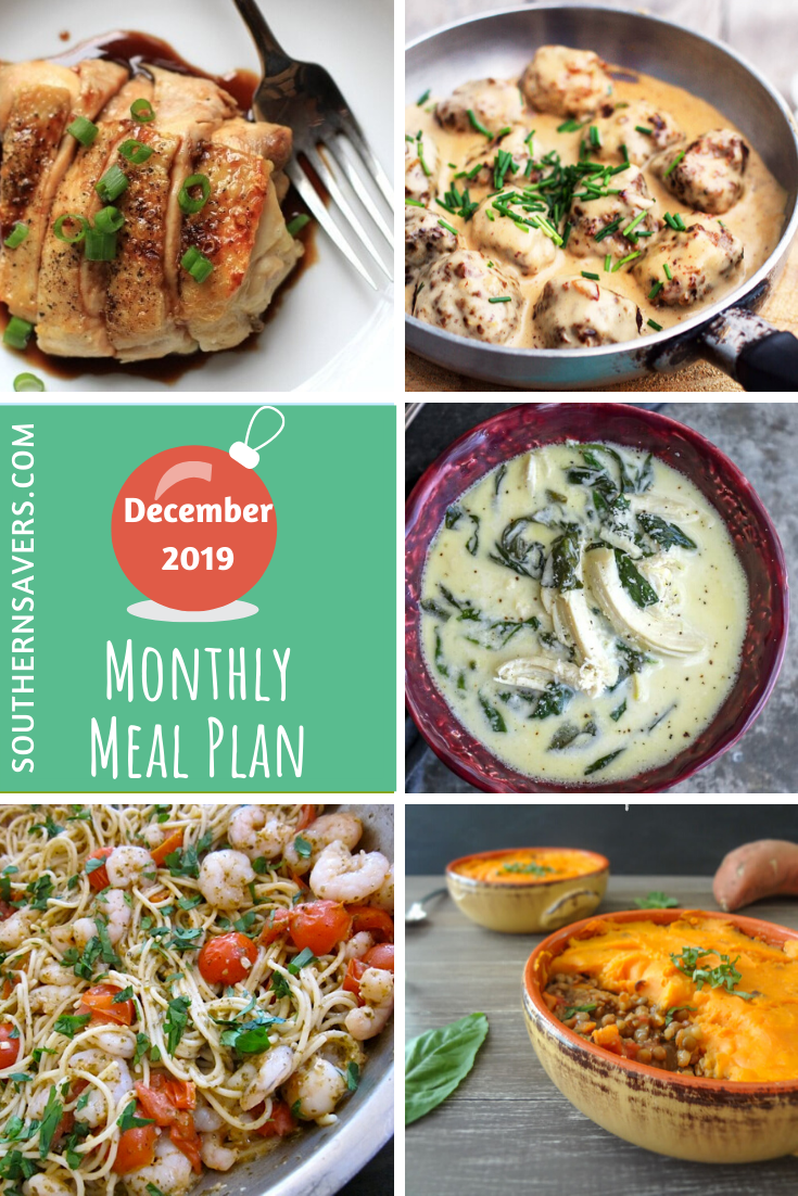 The last month of the year can be crazy, so having a monthly meal plan is a lifesaver. Here's a whole month of recipe ideas to get you through 2019!