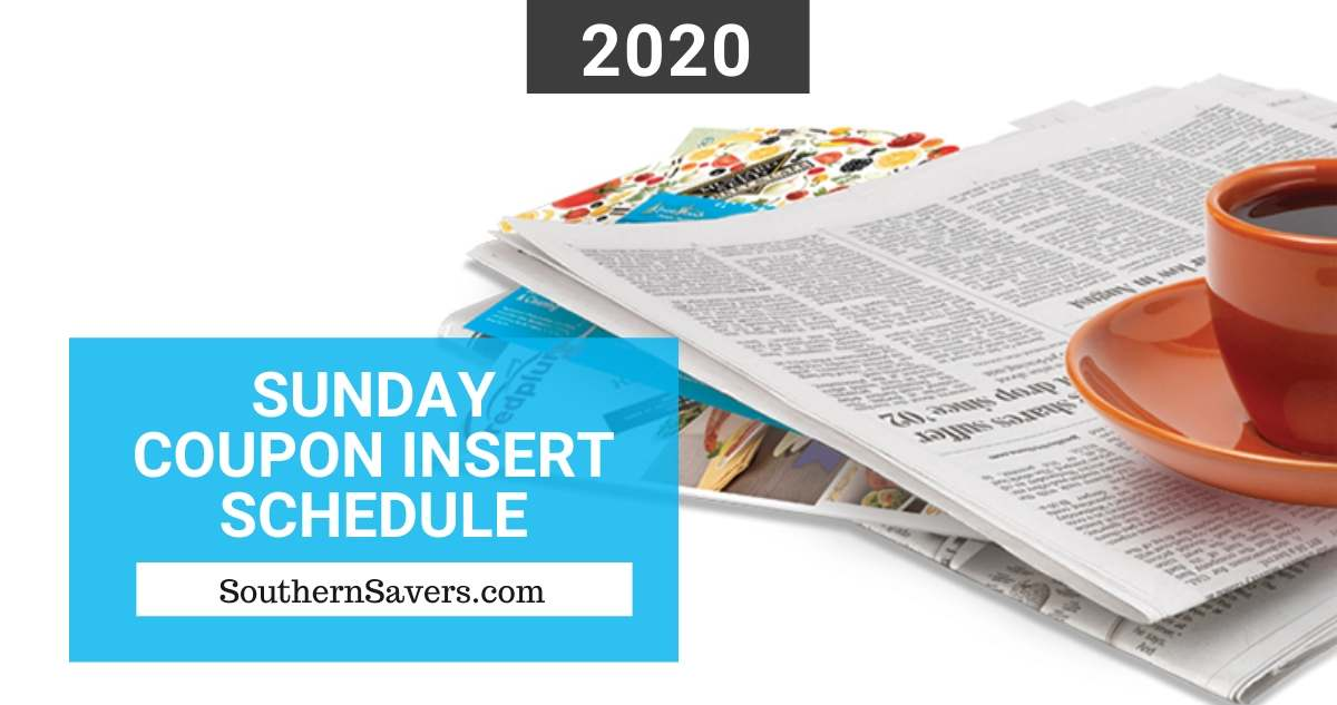 2020 Sunday Coupon Insert Schedule Printable Calendar Southern Savers