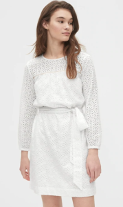 gap eyelet tie dress