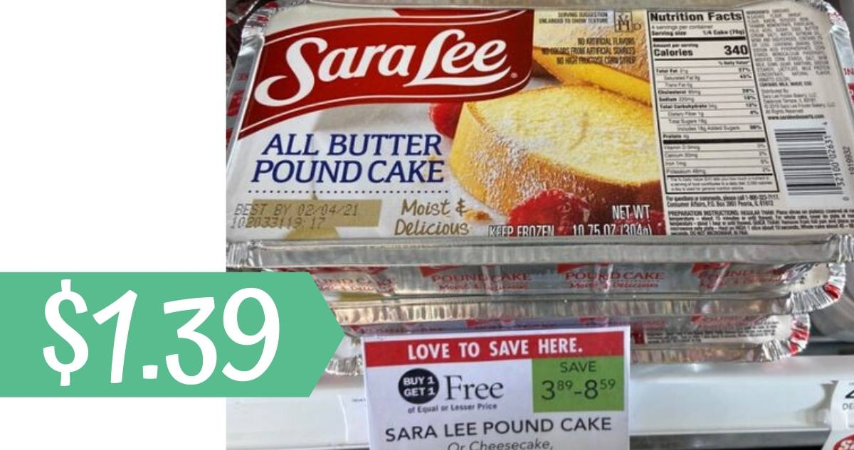 Sara Lee Cakes for $1.39 at Publix
