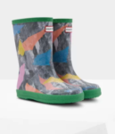 green abstract kids boots