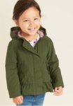 hooded green peplum jacket for girls