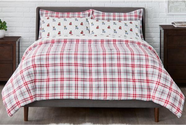 red and gray plaid comforter