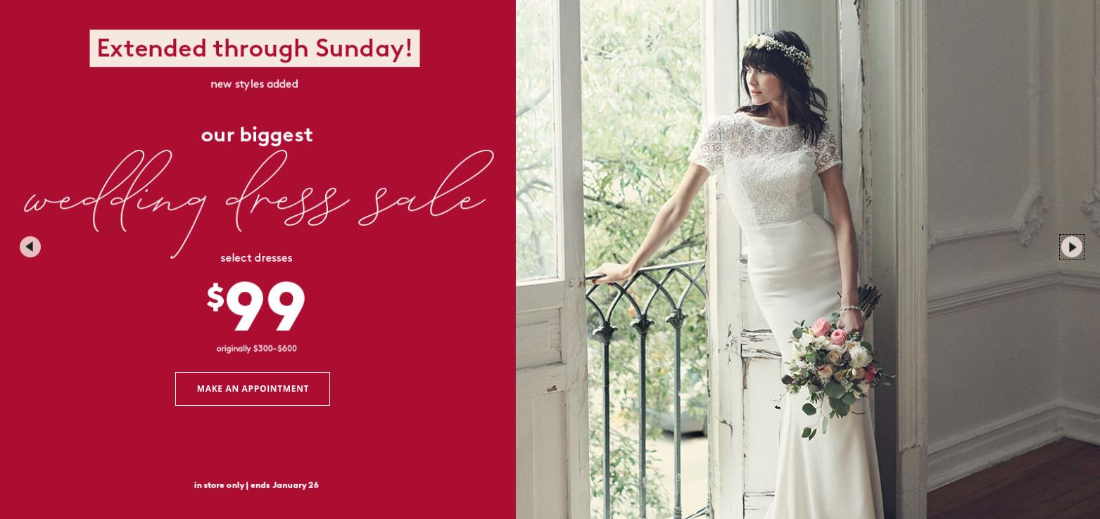 david's bridal $99 dress sale