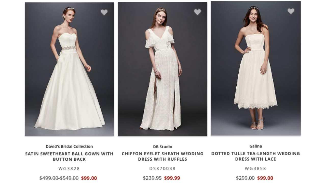 david's bridal $99 dresses