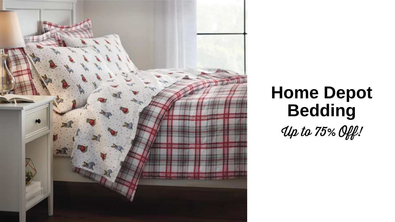 home depot bedding 75% off