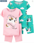 four piece cotton pajama set cow over the moon