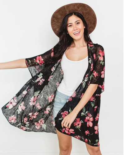 cents of style floral lightweight kimono