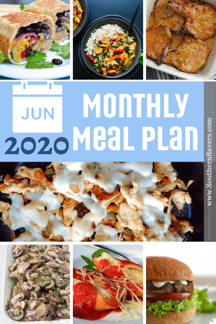 Get summer off to a good start by planning out a month's worth of meals! This monthly meal plan incorporates some extra vegetarian meals!