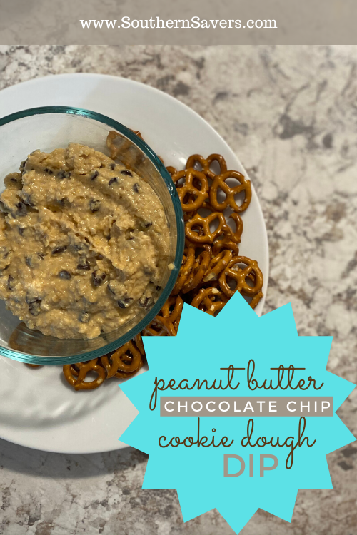 This peanut butter chocolate chip cookie dough dip is the perfect weekday snack for hungry kids! Serve with apples or pretzels for a sweet treat!