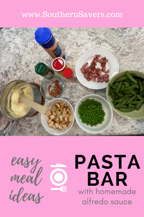 Reduce food waste and make the whole family happy with this easy meal idea of a pasta bar. Take it to the next level with my homemade alfredo sauce!