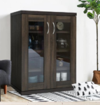 glass front storage cabinet