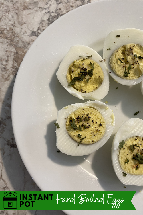 Make a healthy, protein-filled snack for the week with these fast and easy Instant Pot hard boiled eggs! Eat them alone or turn them into something else!