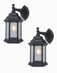 2-pack outdoor black wall light