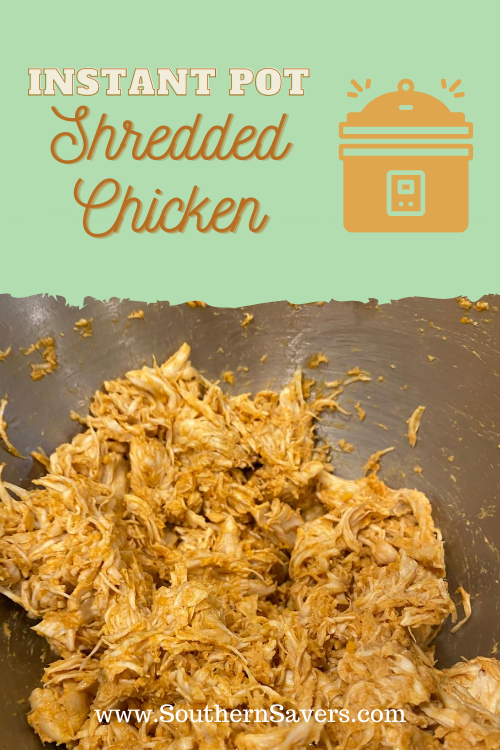 Make chicken in bulk for soups, salads, and casseroles with this how-to for Instant Pot shredded chicken. It only takes 3 minutes to cook!