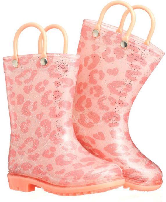 pink leopard rain boot