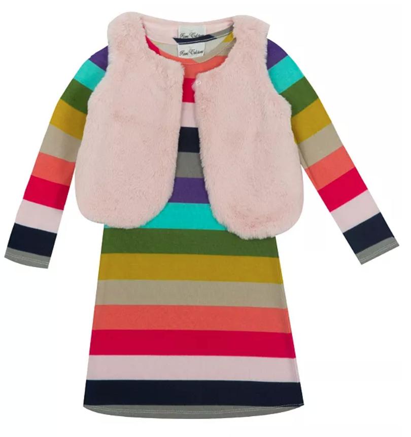 big girl rainbow stripe dress and vest