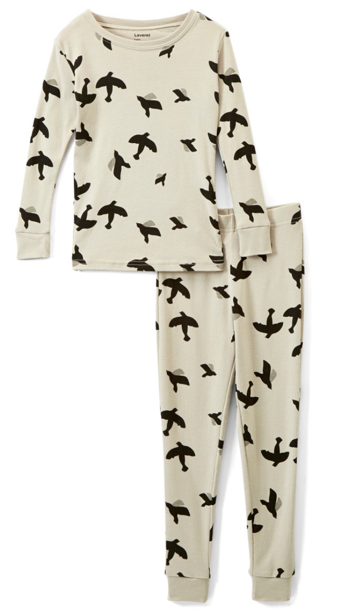 gray birds pajama set