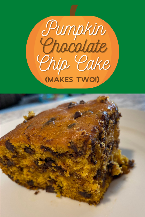 Enjoy the flavors of fall with this delicious pumpkin chocolate chip cake. The recipe makes two, so you can eat one now and freeze one for later!