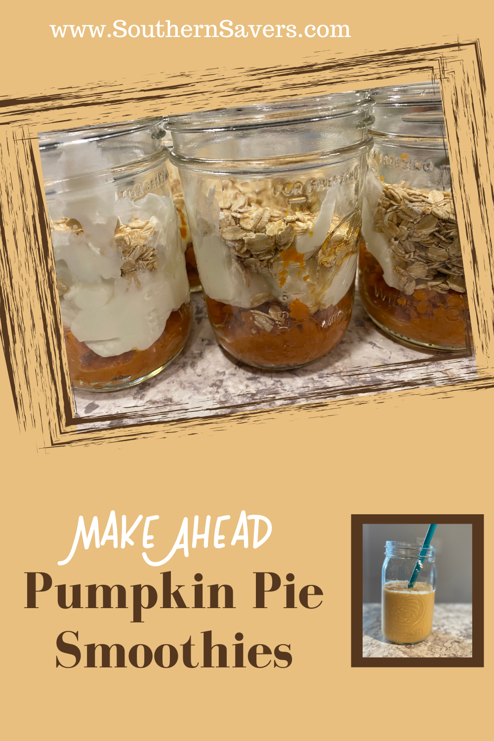 There's pumpkin everywhere, so I'm trying to put it in everything I can. These pumpkin pie smoothies are delicious, and you can prep them ahead of time!