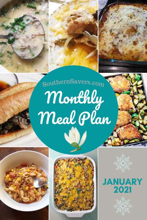We're going on our third year of monthly meal plans at Southern Savers. To start the year off with some good planning, here's the January monthly meal plan!