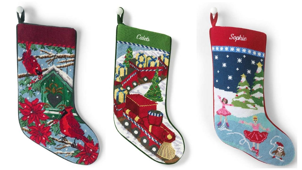 Lands End Needlepoint Stockings $19 + Free Personalization