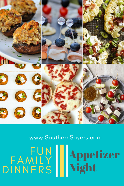 Every once in a while I like to plan some fun family dinners. One of our favorites is appetizer night! Here are 10 of my favorite recipe ideas.