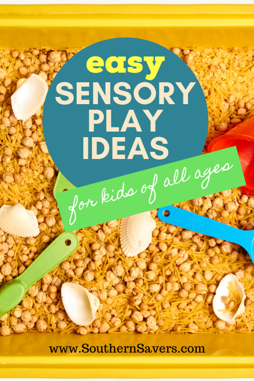 Looking for a frugal activity for kids of any age? These sensory play ideas will occupy them for hours, even if they are babies!