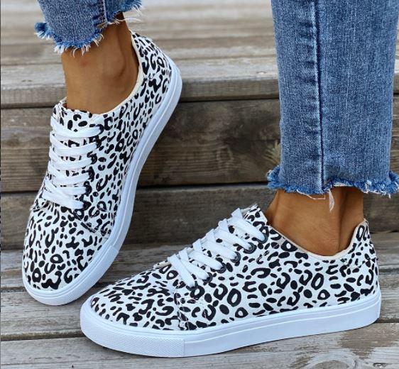 white leopard sneakers