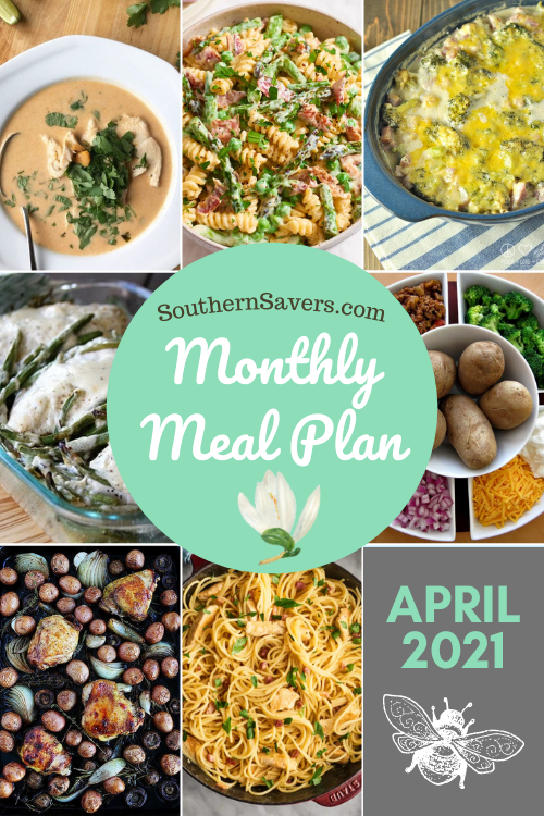 No more wondering what's for dinner. Stay on top of meals and ease your mind with this free monthly meal plan for April 2021!