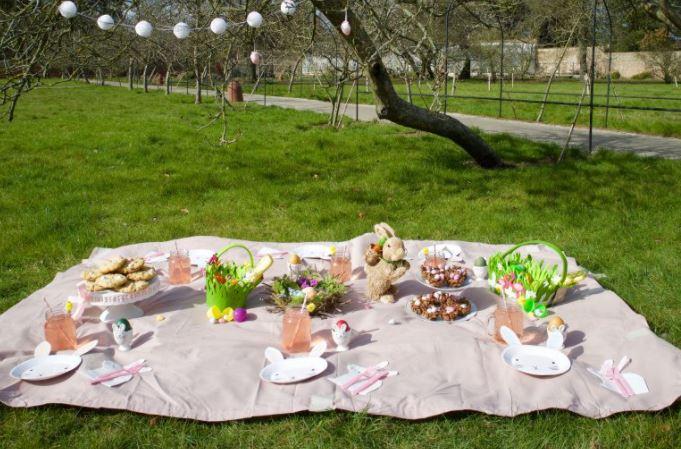 easter picnic blanket setup