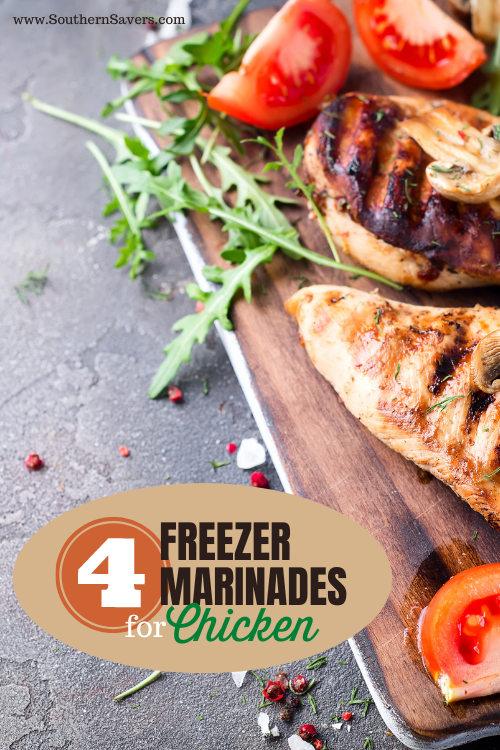 Make dinner easier by freezing meal components ahead of time—these 4 freezer marinades for chicken are delicious and will make dinner a breeze!