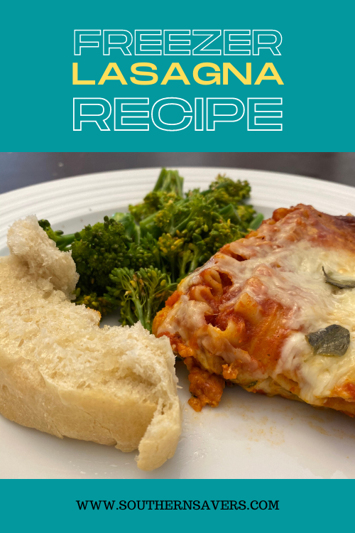Work smarter, not harder by making this freezer lasagna—one for dinner tonight and one to stick in the freezer. Frugal ingredients and vegetarian!