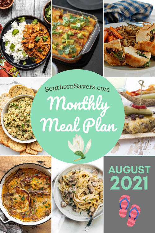 It's the last month of summer, and all the people in my house still want to eat dinner! Here's a monthly meal plan for recipe inspiration!