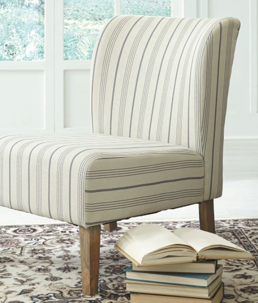 cream and blue accent chair