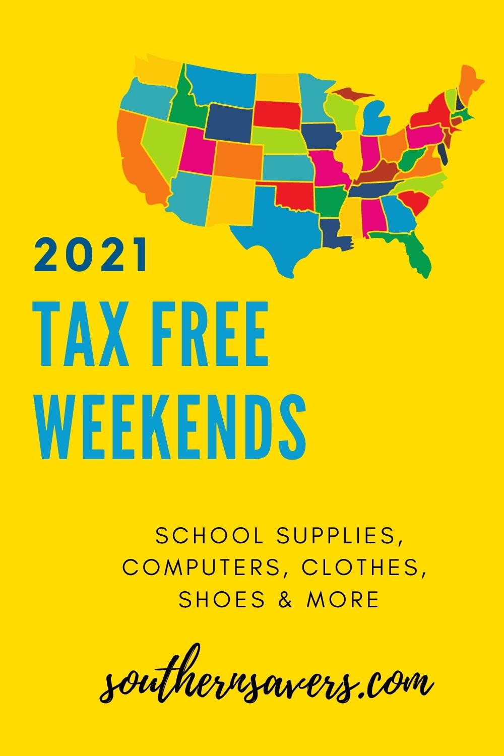Make sure you don't miss your state's Back to School Tax Free Weekend for 2021!  This is an easy extra savings on all the back to school supplies you need.